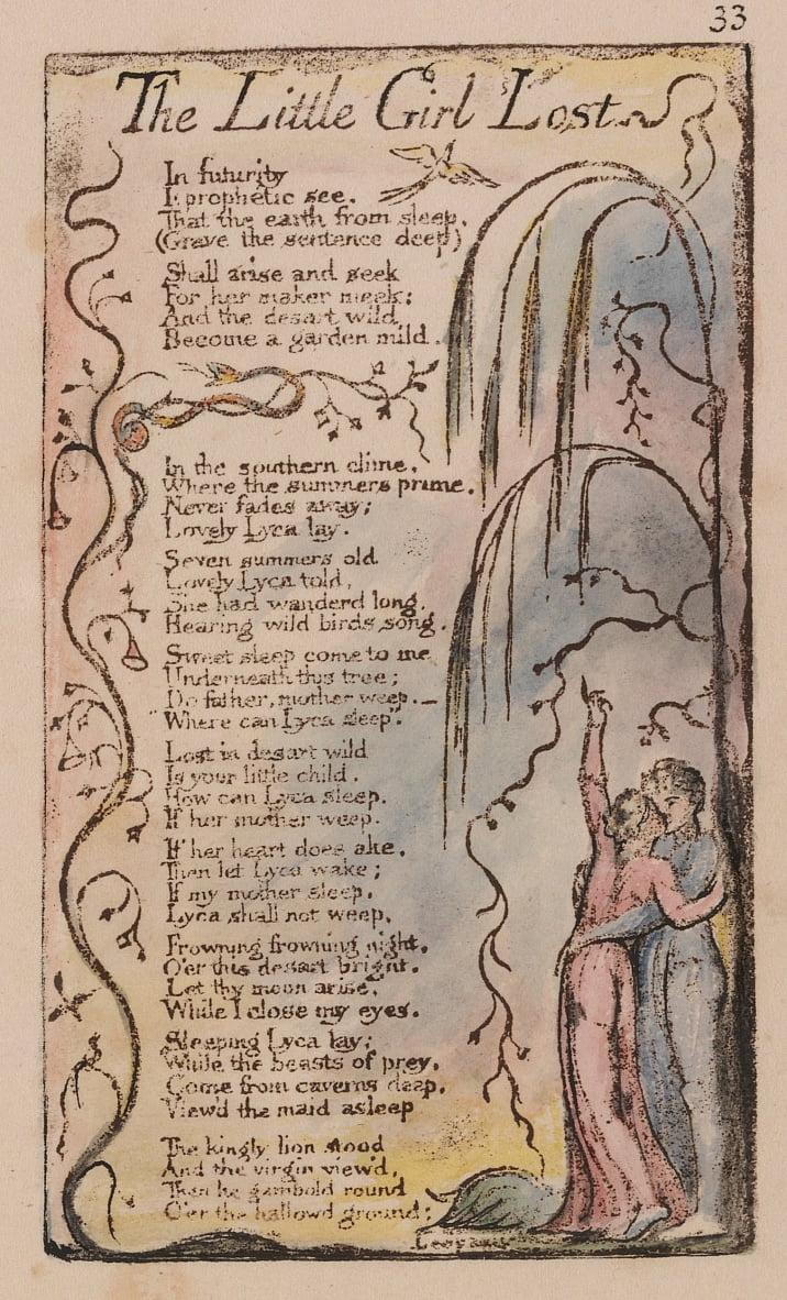 Songs of Innocence and of Experience, Plate 33, The Little Girl Lost (Bentley 34) by William Blake