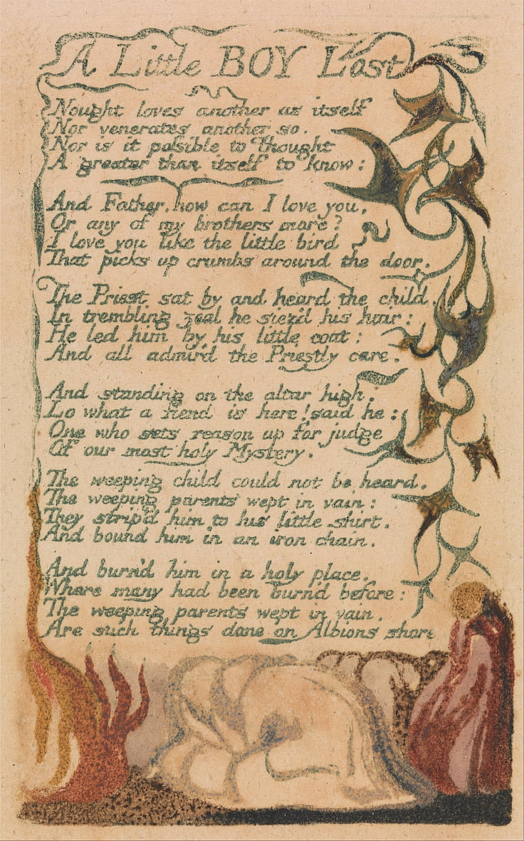 Songs of Innocence and of Experience, Plate 43, A Little Boy Lost (Bentley 50) by William Blake