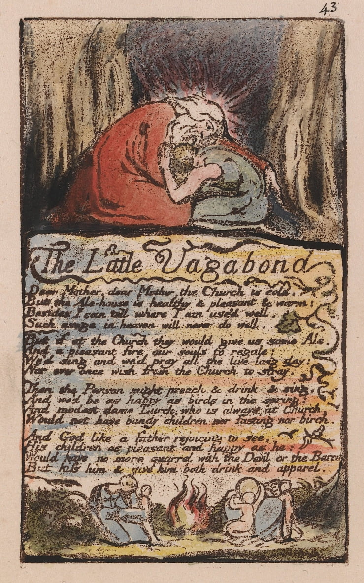 Songs of Innocence and of Experience, Plate 43, The Little Vagabond,  (Bentley 45) by William Blake