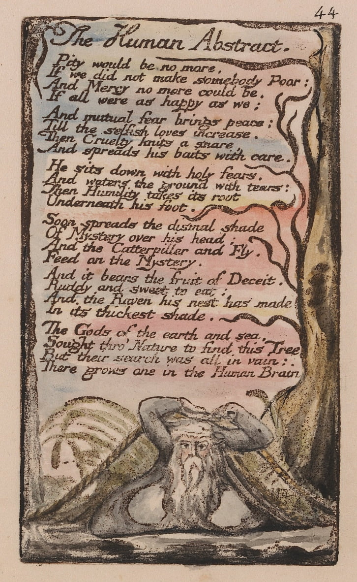 Songs of Innocence and of Experience, Plate 44, The Human Abstract (Bentley 47) by William Blake