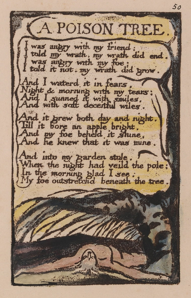 Songs of Innocence and of Experience, Plate 50, A Poison Tree (Bentley 49) by William Blake