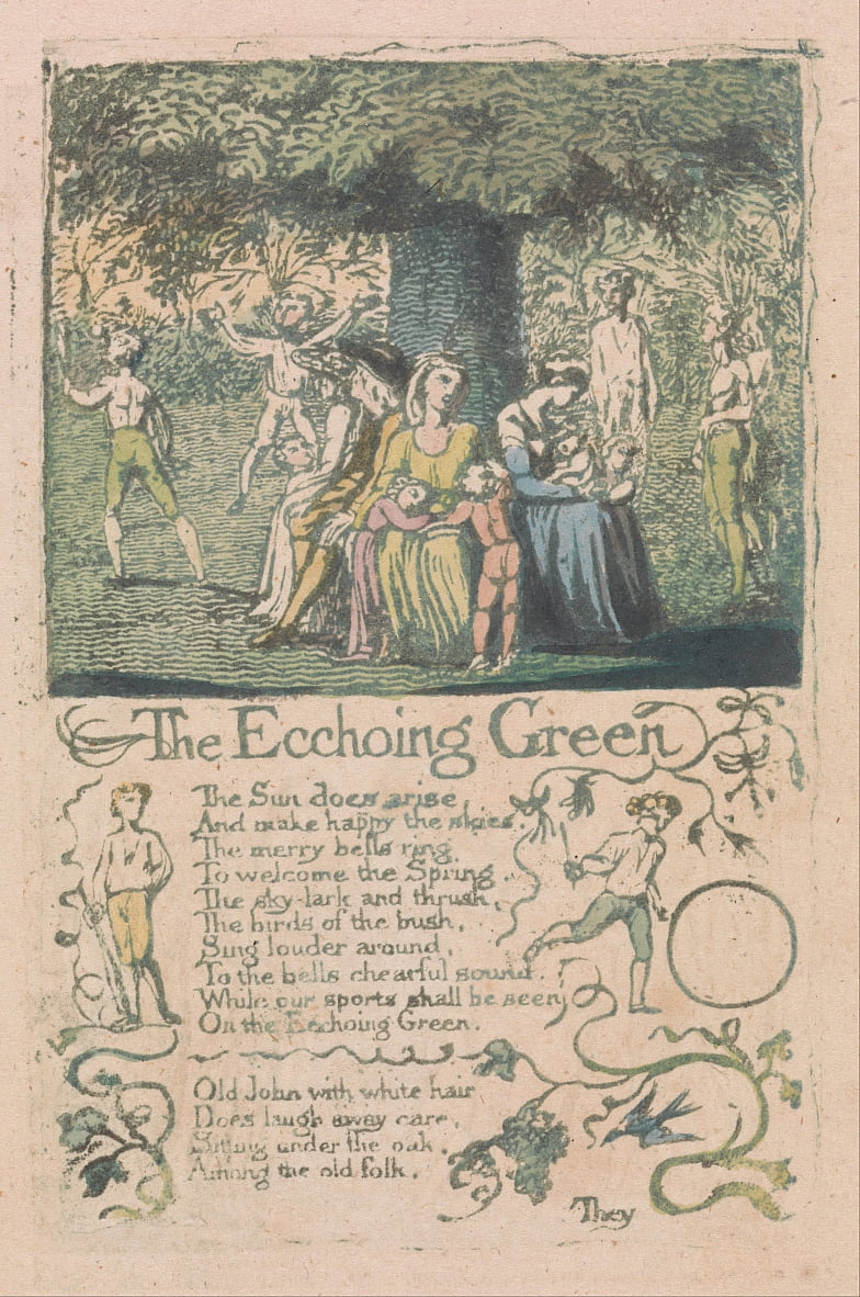 Songs of Innocence and of Experience, Plate 8, The Ecchoing Green (Bentley 6) by William Blake