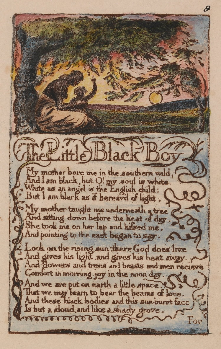 Songs of Innocence and of Experience, Plate 8, The Little Black Boy (Bentley 9) by William Blake