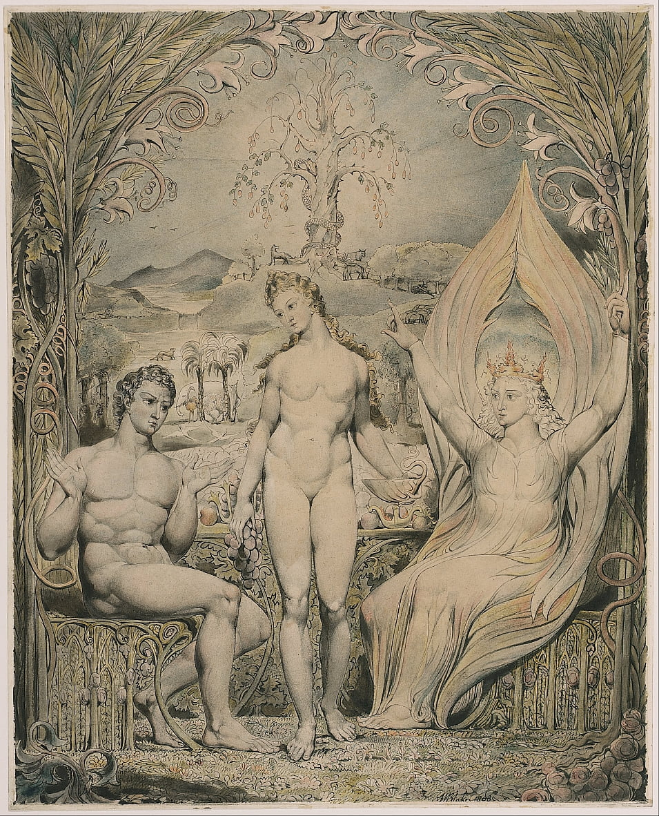 The Archangel Raphael with Adam and Eve (Illustration to Miltons Paradise Lost) by William Blake