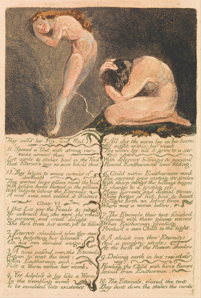 The First Book of Urizen, Plate 17, They calld her Pity and fled . . . . (Bentley 19) by William Blake