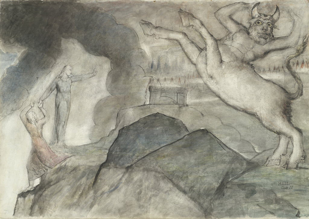 The Minotaur, illustration to the Divine Comedy by Dante Alighieri, 1824-27 (pen & ink with wc over pencil and chalk on paper) by William Blake