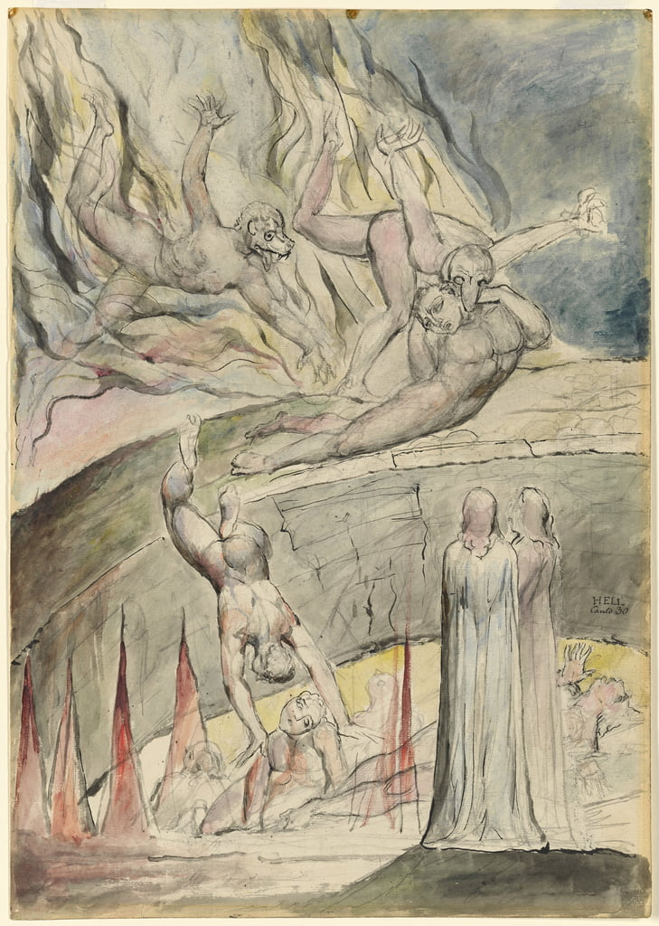 The Pit of Disease: Gianni Schicchi and Myrrha illustration to the Divine Comedy by Dante Alighieri, 1824-27 (pen & ink with wc over pencil on paper) by William Blake