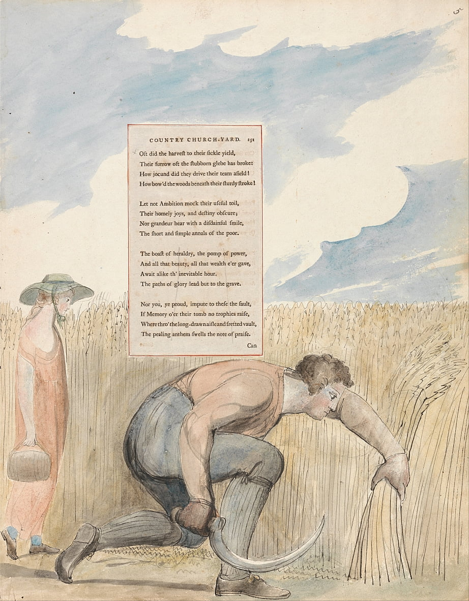 The Poems of Thomas Gray, Design 109, Elegy Written in a Country Church-Yard. by William Blake