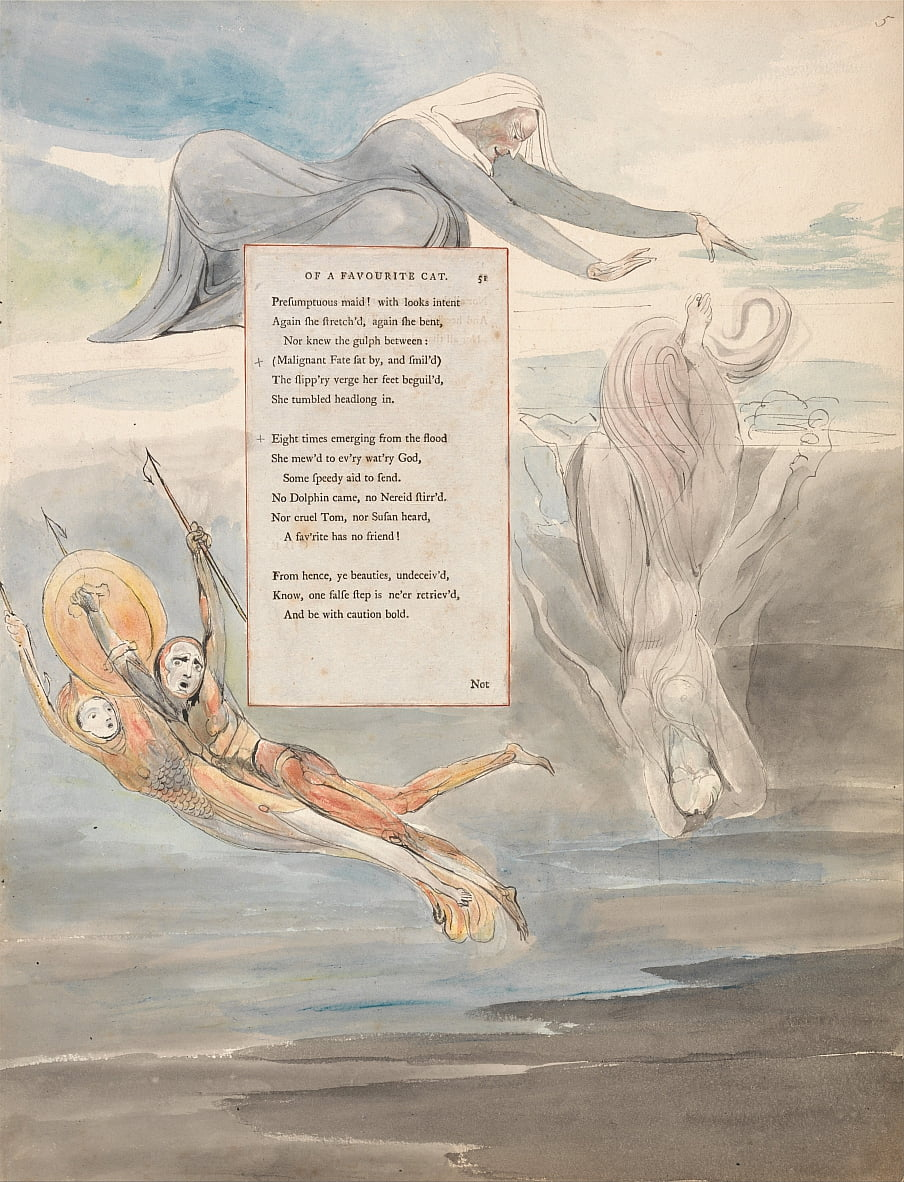 The Poems of Thomas Gray, Design 11, Ode on the Death of a Favourite Cat. by William Blake