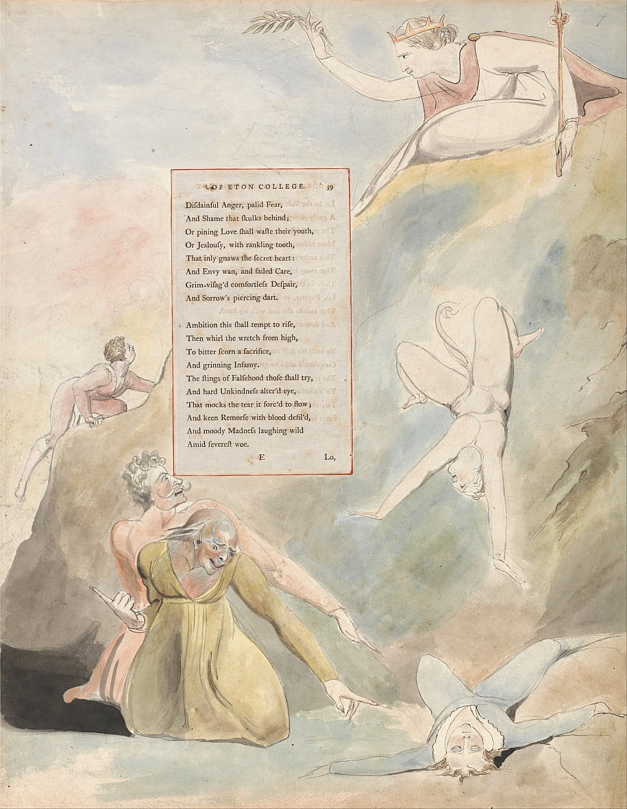 The Poems of Thomas Gray, Design 19, Ode on a Distant Prospect of Eton College. by William Blake