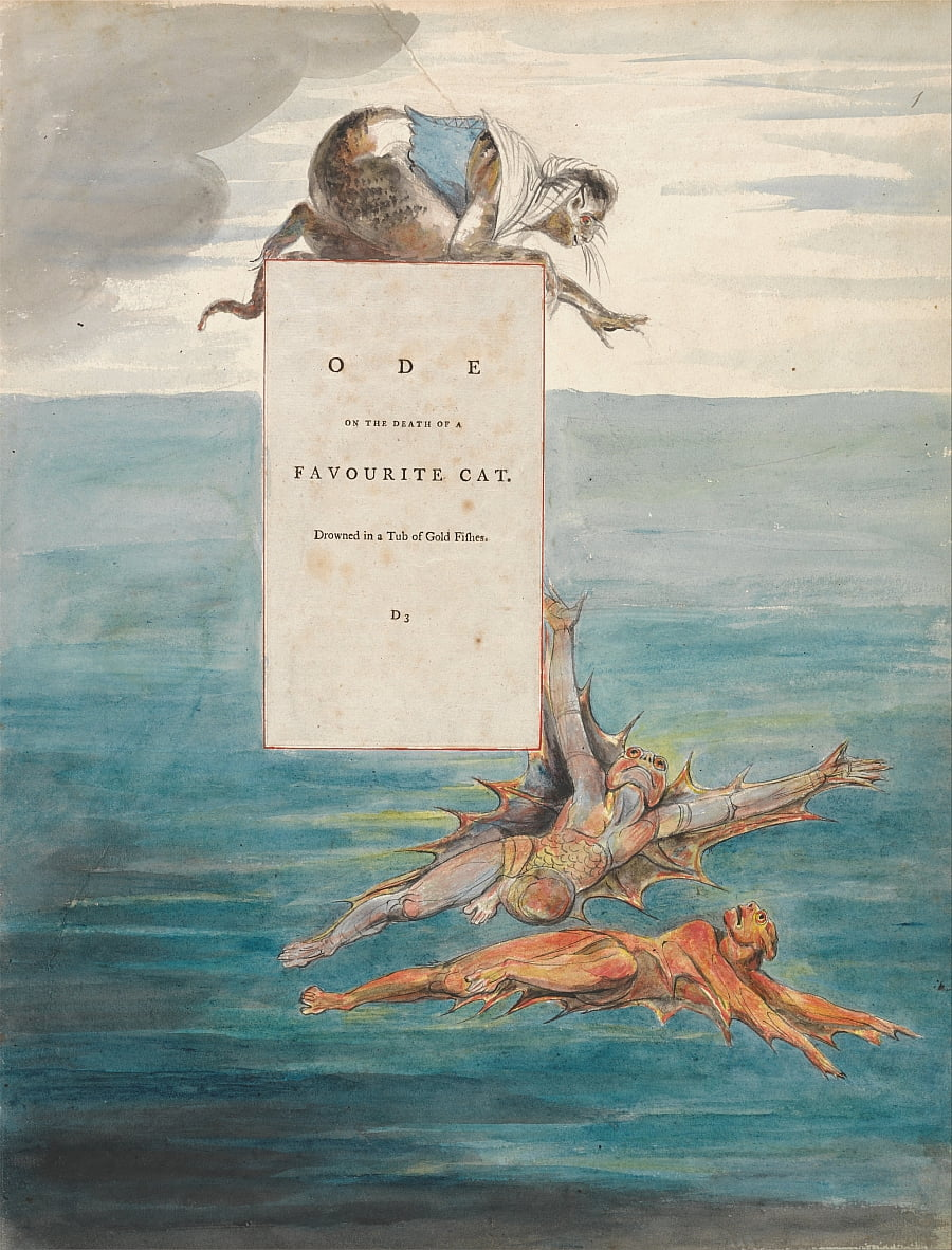 The Poems of Thomas Gray, Design 7, Ode on the Death of a Favourite Cat. by William Blake