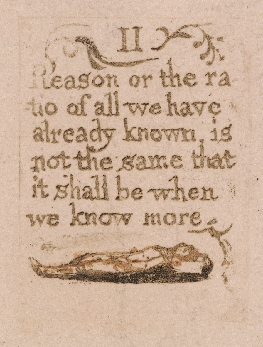 There Is No Natural Religion, Plate 11, II Reason or the ratio . . . .  (Bentley b4) by William Blake