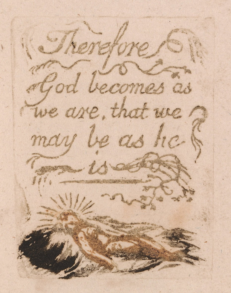 There Is No Natural Religion, Plate 9, Therefore God becomes . . . .  (Bentley b12) by William Blake