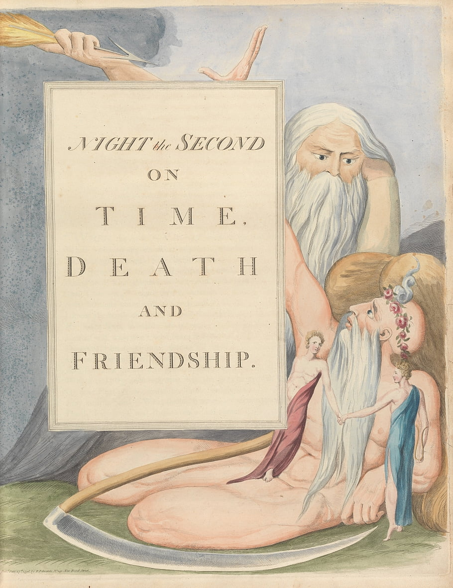Youngs Night Thoughts, Page 17, Night the Second, On Time, Death and Friendship. by William Blake