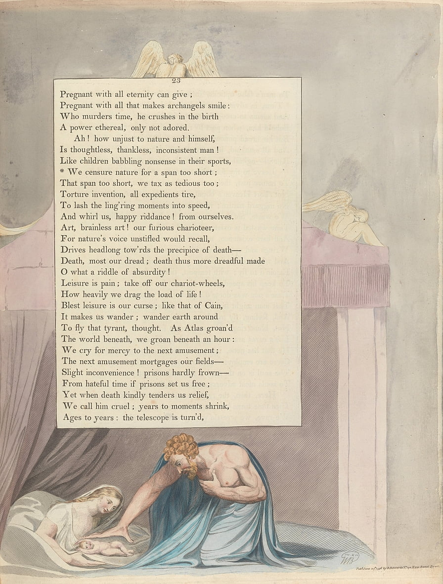 Youngs Night Thoughts, Page 23, We censure nature for a span too short by William Blake
