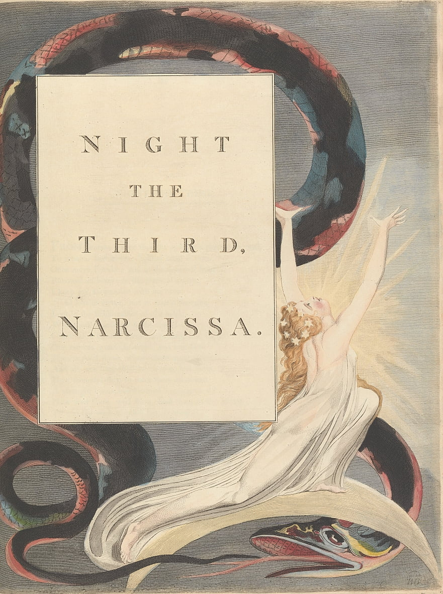 Youngs Night Thoughts, Page 43, Night the Third, Narcissa. by William Blake