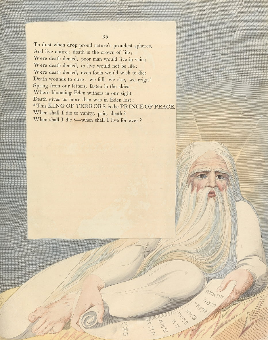 Youngs Night Thoughts, Page 63, This King of Terrors is the Prince of Peace by William Blake