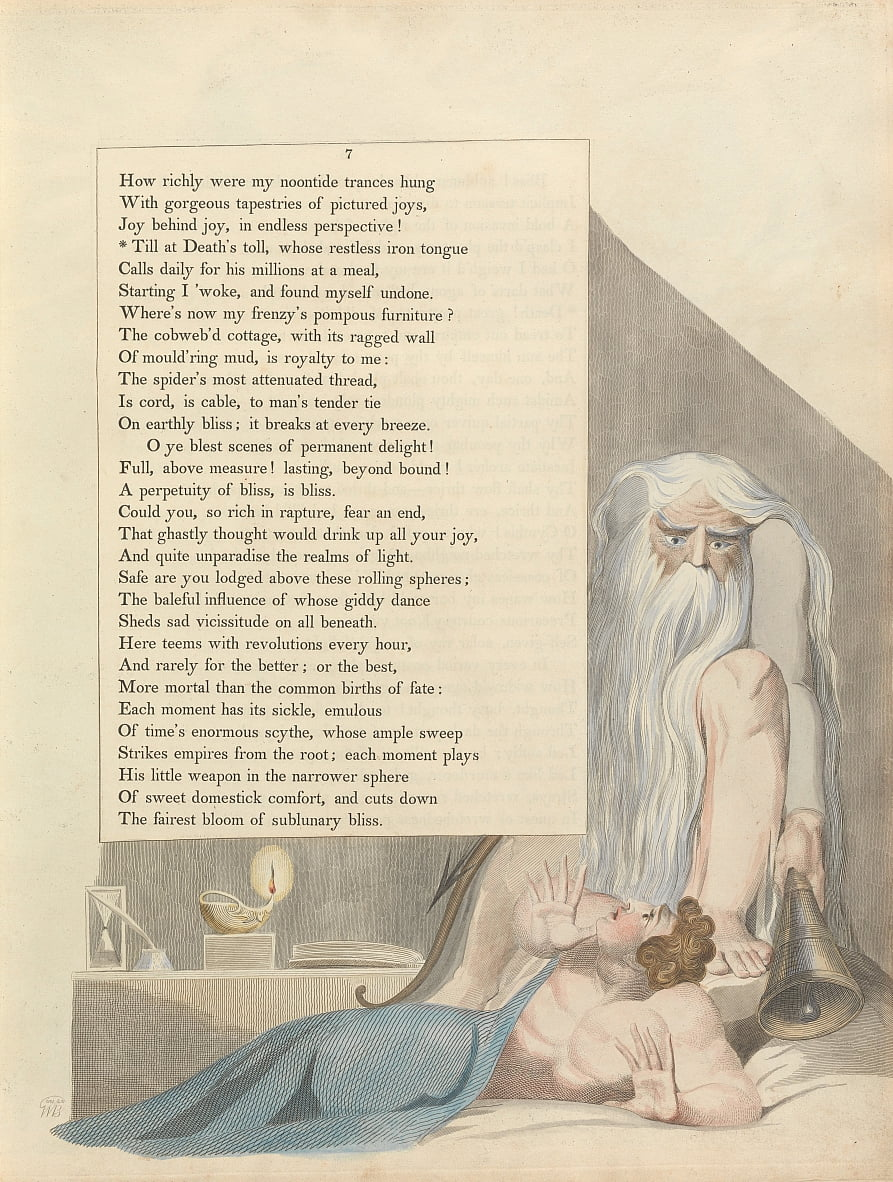 Youngs Night Thoughts, Page 7, Till at Deaths toll, whose restless iron tongue by William Blake