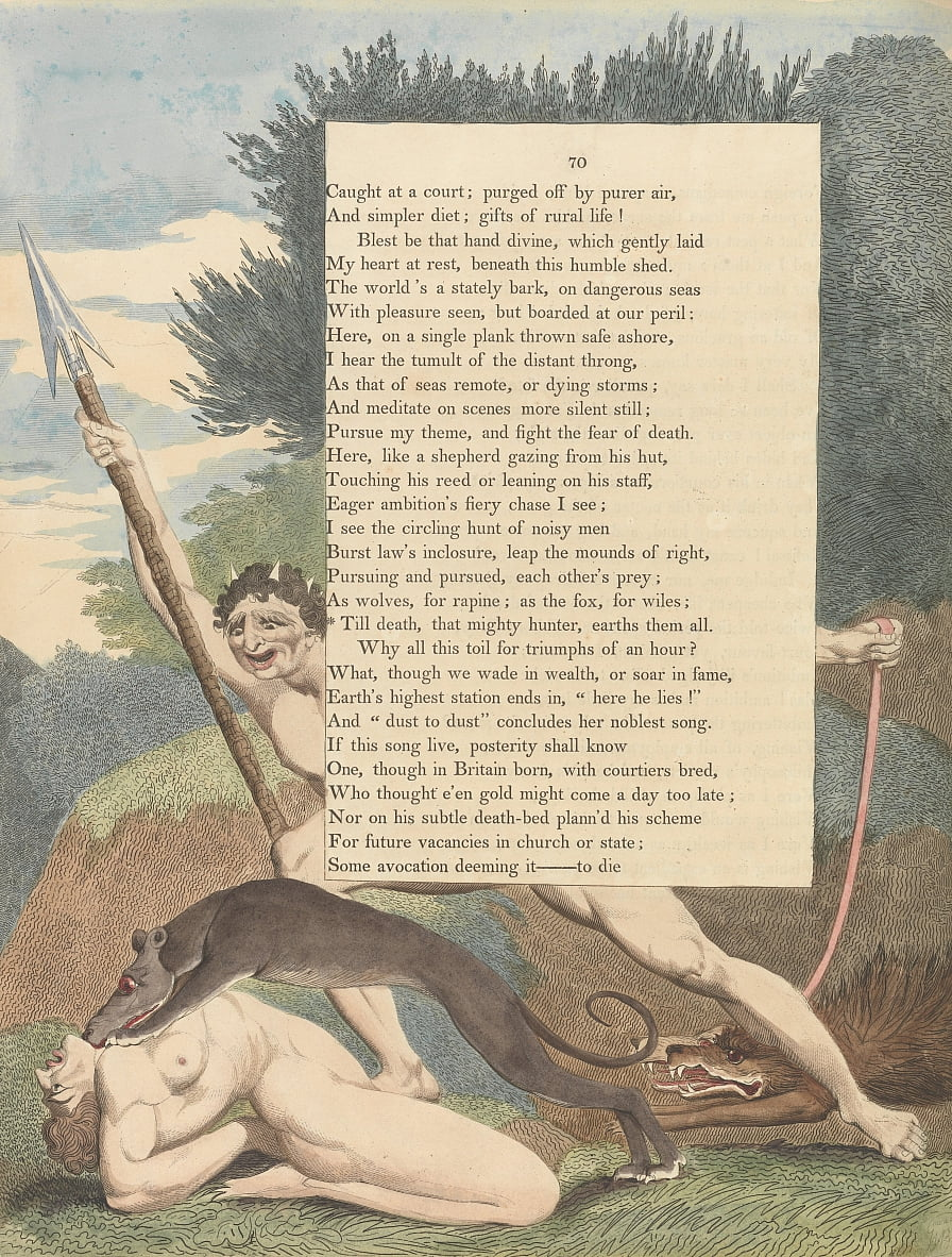 Youngs Night Thoughts, Page 70, Till death, that mighty hunter, earths them all by William Blake