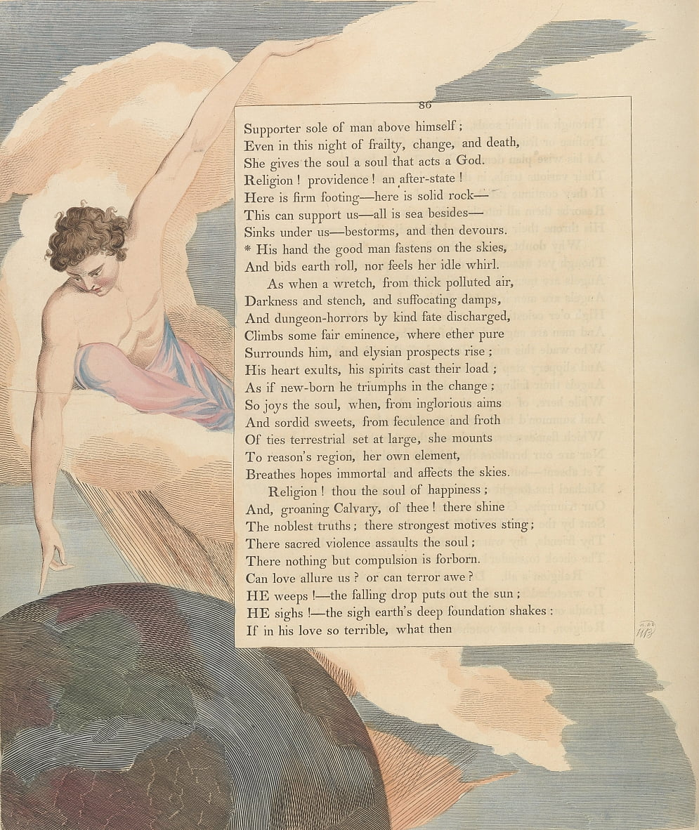 Youngs Night Thoughts, Page 86, His hand the good man fastens on the skies by William Blake