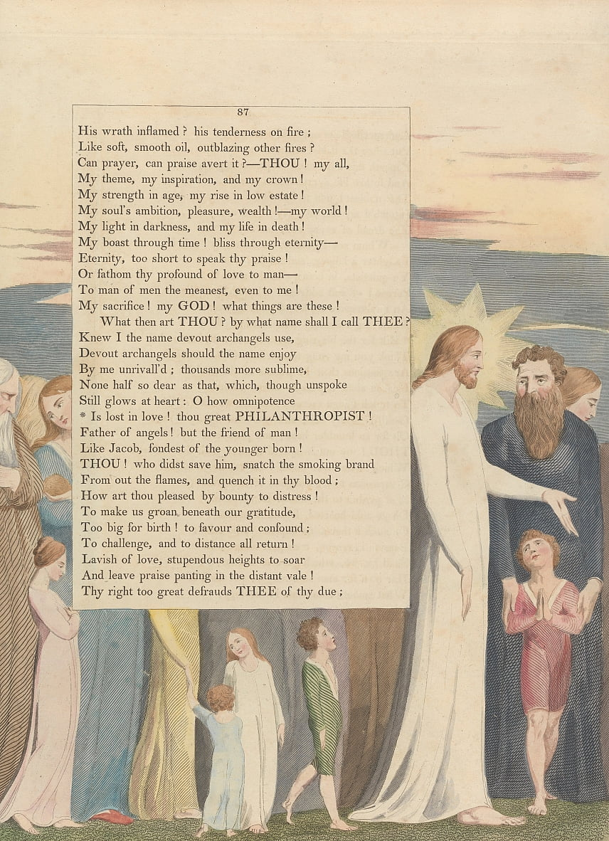 Youngs Night Thoughts, Page 87, Is lost in love! thou great Philanthropist by William Blake