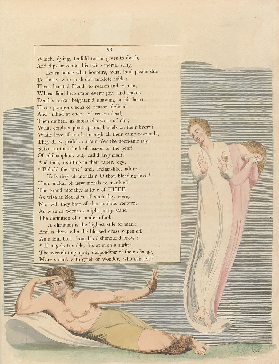 Youngs Night Thoughts, Page 93, If angels tremble, tis at such a sight by William Blake