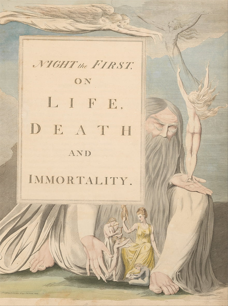 Youngs Night Thoughts, Title Page, Night the First, on Life, Death and Immortality. by William Blake