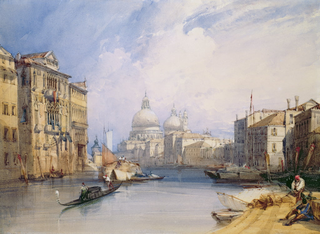 The Grand Canal, Venice, 1879 (wc, bodycolour and pen and ink on paper) by William Callow