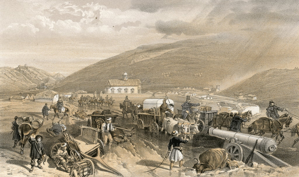 Commissariat Difficulties, the road from Balaklava to Sebastopol, at Kadikoi, during wet weather by William Crimea Simpson