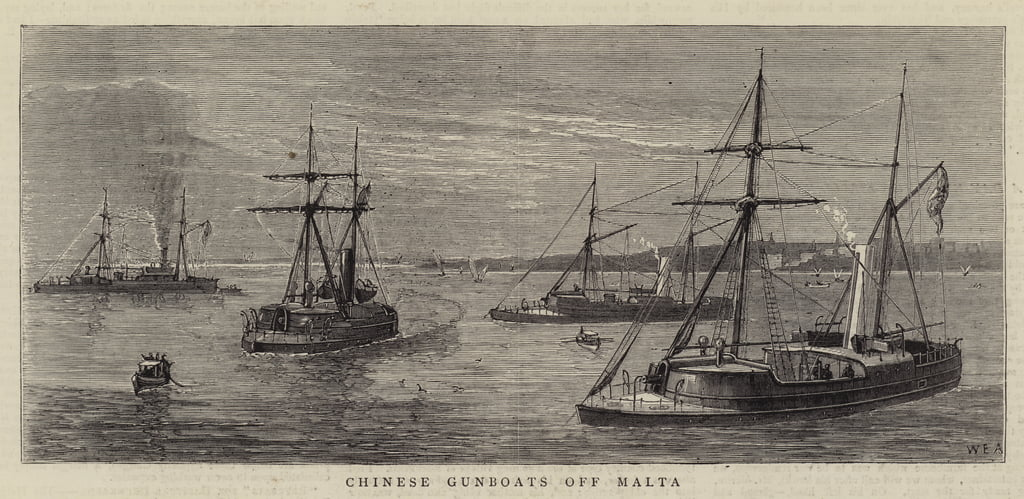 Chinese Gunboats off Malta  by William Edward Atkins