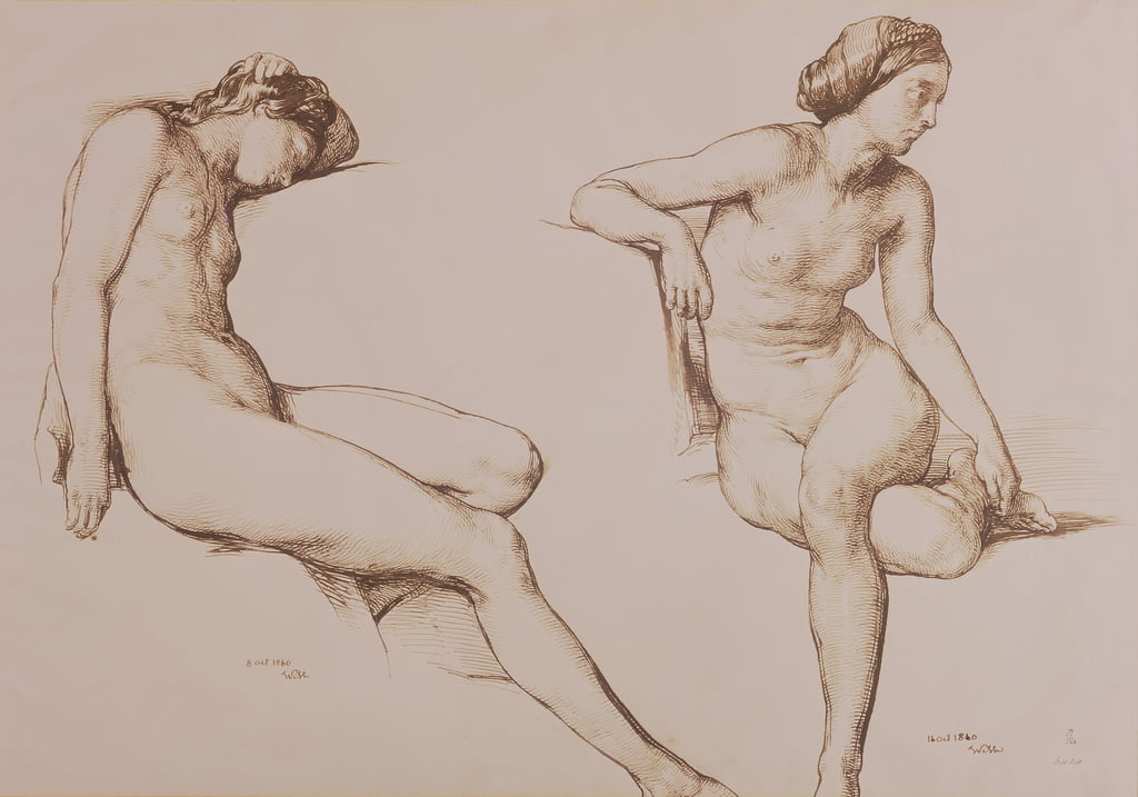 Sepia Drawing of Nude Woman, c.1860 by William Mulready