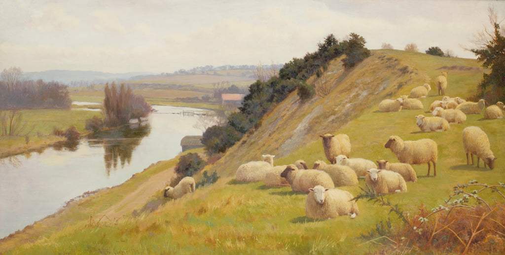 A Riverside Pasture with Sheep  by William Sidney Cooper