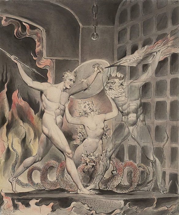 "Illustration 2 to Milton""s ""Paradise Lost"": Satan, Sin, and Death: Satan Comes to the Gates of Hell, 1807 by William Blake"