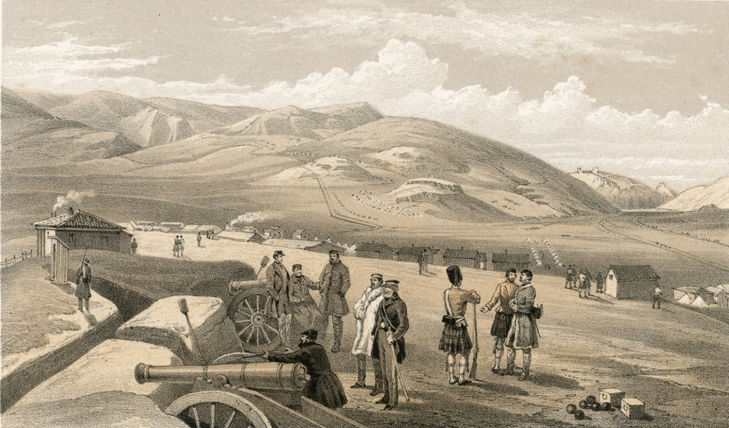 Highland Brigade Camp, looking south by William Crimea Simpson