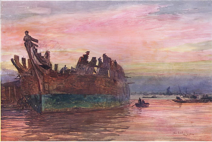 The end of an old warship, 1915  by William Lionel Wyllie