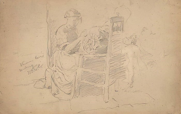 Venetian Lace Making, 1877-8 (graphite on laid paper) by William Merritt Chase